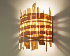 "Wall Light, Veneer Wall Lamp, Bedside lamp, Bedside light, Night Light, Natural Minimalist Style, Maple "" Wild Arc Woven"""