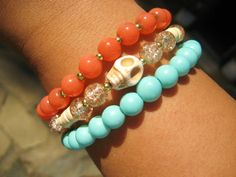 Stone Skull, Turquoise, & Coral Layered Bracelet by augustroseshop on etsy