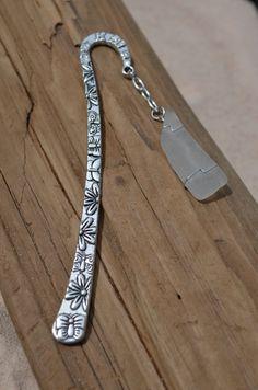 Frosted White Sea Glass Shepherd's Hook Bookmark by DejaVuDesignz