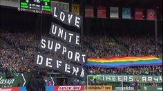 #MLS  TIFO: The Timbers Army reveal their LGBT Pride Night tifo
