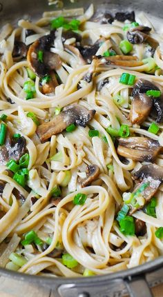 Garlic Mushroom Fettuccine Pasta smothered in butter and shredded Parmesan: simple, 30 minute meal that tastes like it's from a fancy Italian restaurant.