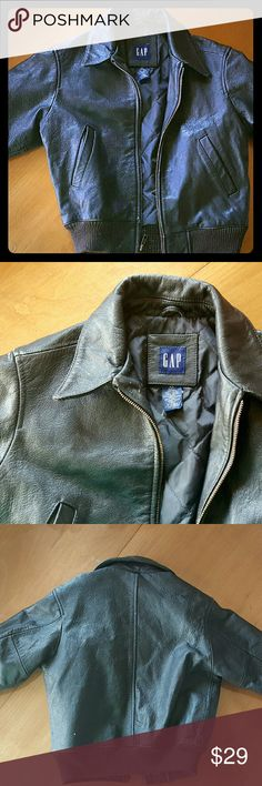 GAP Boys Leather Jacket XS 4 5 6 Black Motorcycle Genuine Leather jacket Boys, or cool girls...size XS.  Fit 4 5 6 Quilted inside.  Nice heavy weight. 2 pockets outside, 1 inside. Knit gathered around wrists and waist. Black Motorcycle, lived in look. Be the cool kid!  I LOVE Bundles.  25% OFF 3 Items.  PLUS only pay one shipping fee!   ****MAKE ME AN OFFER.  I LOVE TO DEAL!***** Been selling online over 15 yrs.  Just a mom that shops too much!  Pro packing, smoke free home. GAP Jackets…