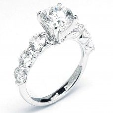 Round Diamond Engagement Ring With Big Side Stones (2.19 cttw)
