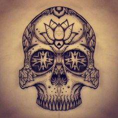 Dotwork tattoo mandala skull. Instagram.com/wollieallacetattooist