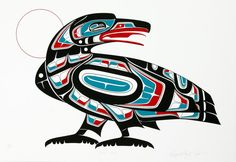 I love Native American art from the Pacific Northwest area. Found on Etsy.com/listing/252211889/vintage-raven-trickster-serigraph-print