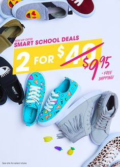 Smart School Deals! Limited time only, get 2 pairs of shoes for only $9.95 TODAY with free shipping & free exchanges. Become a FabKids VIP Member today to get more great deals. See site for select styles.
