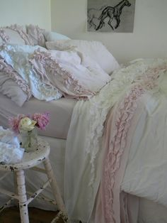Simply me: Ruffles Ruffles....I wanted to share with you the sheets that match the 2 ruffled pink pillows I bought from Target, they are Just lovely and soft!!