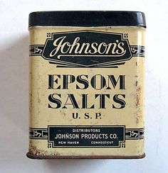 Vintage Johnson's Epsom Salts Blue and White Advertising Tin, Medical… Vintage Tins, Vintage Labels, Vintage Love, Vintage Antiques, Retro Vintage, Vintage Kitchen, Tin Containers, Vintage Medical, Vintage Packaging