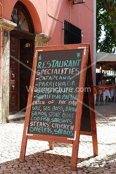 Stock image of Restaurant chalkboard menu Cod Fish, Sea Bass, Omelet, Chicken Salad, Salmon, Steak, Menu, Restaurant, Monte Carlo