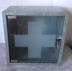 Retro Vintage Metal First Aid Bathroom Cabinet Cross Glass Medicine INDUSTRIAL in Home & Garden, Furniture, Cabinets, Chests   eBay