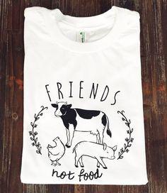 Friends Not Food vegan tshirt vegetarian tshirt by HandInLove