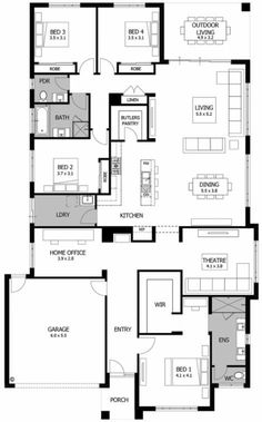 Boutique Homes - Barcelona. , Boutique Homes - Barcelona House Plan With Loft, New House Plans, Dream House Plans, House Floor Plans, Split Level Floor Plans, Home Design Floor Plans, Kitchen Floor Plans, 4 Bedroom House Plans, Floor Plan 4 Bedroom