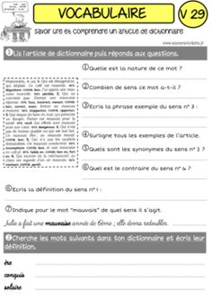 """UNE ANNEE DE VOCABULAIRE """"CLES EN MAIN"""" ! French Language, Education, This Or That Questions, Animation, French Stuff, Pj, Macedonian Food, Simple, Cycle 3"""