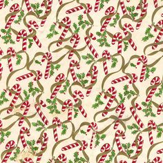 Mid-Century Christmas Paper - Candy Canes & Holly by ElectroSpark, via Flickr