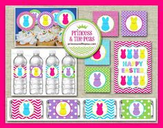 Easter Party Printables | Easter Cupcake Toppers | Easter Water Bottle Labels | Easter Party Sign | Easter Mini Candy Bar Wrappers ~ ON SALE for Only $8.00 for entire package!!