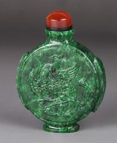 19th C. Chinese Spinach Green Jadeite Snuff Bottle