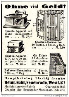 Original-Werbung/ Anzeige 1928 - GRAMMOPHONE / MUSIKINSTRUMENTE - SUHR - NEUENRADE - ca. 45 x 75 mm