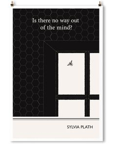 Sylvia Plath art print by Obvious State. Minimalist black and white wall art.