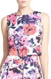 Eliza J Floral Print Faille Crop Top Corte Y Confección cffc02beb081