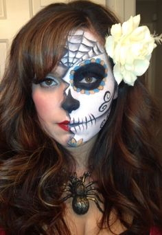 Day of the Dead Makeup Half Face PAINT | Day of the dead meets pin up ...
