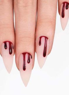 Unique Halloween Nail Designs for Bold Women 2018 The best and creative ways for nails designs to make your hands' look more acute than before. You can see here a lot of best ideas of Halloween nail designs for women of various age groups. Ongles Gel Halloween, Nail Art Halloween, Halloween Nail Designs, Halloween Halloween, Halloween Coffin, Pretty Nails, Fun Nails, Drip Nails, Holloween Nails