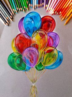 balloon color pencil drawing by Jocelyn Schmidt http://webneel.com/25-beautiful-color-pencil-drawings-valentina-zou-and-drawing-tips-beginners | Design Inspiration http://webneel.com | Follow us www.pinterest.com/webneel