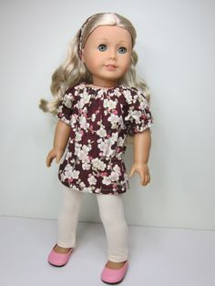 American girl doll clothes-  Pretty spring  blossoms uk top and cream leggings by JazzyDollDuds on Etsy