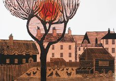 Exhibition: Kentish Village (No. by Robert Tavener House Quilts, Wood Engraving, Woodblock Print, Pansies, Landscape Art, Printmaking, Watercolor Paintings, Fine Art, British