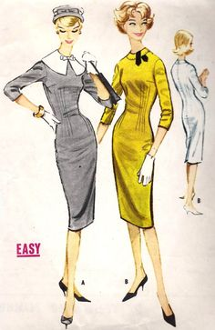 1950's dress..I believe the full skirt woman's early 50's, then these pencil skirts/suit jackets were the rage in the late 50's