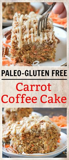 This Paleo Carrot Cake Coffee Cake is simple and so delicious! A moist, tender c., Desserts, This Paleo Carrot Cake Coffee Cake is simple and so delicious! A moist, tender cake topped with an irresistible crumb topping and a sweet glaze. Patisserie Sans Gluten, Dessert Sans Gluten, Paleo Dessert, Gluten Free Desserts, Dessert Recipes, Gluten Free Recipes, Gourmet Recipes, Real Food Recipes, Diet Recipes