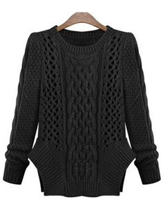Black Long Sleeve Hollow Cable Knit Sweater