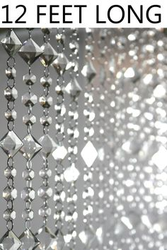 Aces and Eights Beaded Curtain - Crystal - 3 ft x 12 ft