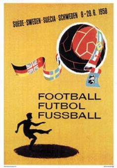 Official World Cup Poster - Sweden 1958 Signed Medwin | eBay