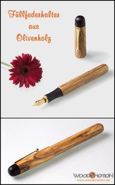 Handgefertigter #Füller aus Olivenholz und Ebenholz mit vergoldeter Feder