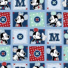 "Springs Creative Disney Mickey Plaid Dots Patch 43"" wide Fabric by the Yard  Saw at Walmart their online store.  I really like this Mickey Fabric."