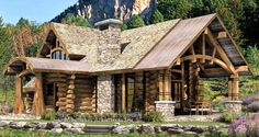 The Upland Retreat Hybrid Timber & Log Home design - more at http://www.logcabindirectory.com/loghome_floorplans/precisioncraft/