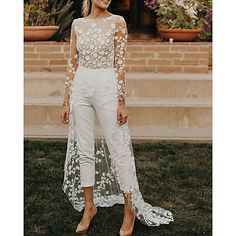 Silhouette:Jumpsuits,A-Line; Hemline / Train:Sweep / Brush Train; Closure:Zipper UP; Fully Lined:Yes; Built-In Bra:No; Wedding Venues:Beach / Destination,Garden / Outdoor; Embellishment:Embroidery,Appliques; Fabric:Satin,Lace; Sleeve Length:Long Sleeve; Theme:Sexy; Boning:No; Waistline:Natural; Neckline:Jewel Neck; Trends:Modern,See-Through; Front page:Wedding Dresses; Listing Date:05/26/2020; Bust:; Hips:; Hollow to Floor:; Waist:; Wrap:No Dressy Jumpsuit Wedding, Jumpsuit Dressy, Romantic Bohemian Wedding Dresses, Lace Wedding Dress, Tulle Wedding, Cheap Wedding Dresses Online, Wedding Dresses Plus Size, Sexy, Style Vintage