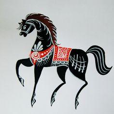 Folk Gorodets painting from Russia. Stencil Painting, Fabric Painting, Polish Folk Art, Tole Painting Patterns, Batik Art, Russian Folk Art, Scandinavian Folk Art, Unicorn Art, Horse Sculpture