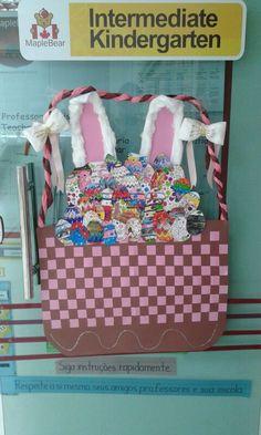 Easter eggs in basket & bunny door