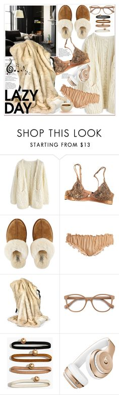 """Sleep In: Lazy Day"" by spenderellastyle ❤ liked on Polyvore featuring Chicwish, La Perla, UGG, Loup Charmant, EyeBuyDirect.com, Madewell, Beats by Dr. Dre, Benzara and LazyDay"