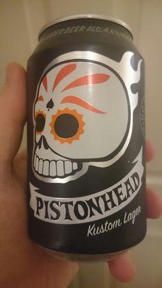 Pistonhead Lager from Sweden. #tiltit #brutalbrewing #kustom