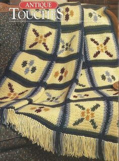 Country Stencils Afghan Crochet Pattern Blanket Throw Home Decor P-286 by PatternMania3 on Etsy