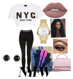"""NYC represent"" by leahasykes-i ❤ liked on Polyvore featuring Topshop, Lime Crime, Movado, Irene Neuwirth and WithChic"