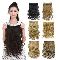50 colors!!! Curly Clip In Hair Extension Women Natural  Synthetic Hairpiece Hair Style  Wavy Curl Clip On Hair Extensions 888
