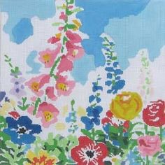Jean Smith garden needlepoint with foxgloves and poppies