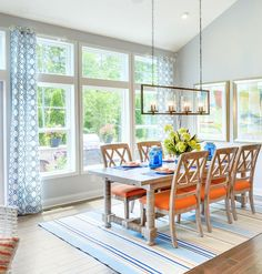 Empty Nester Cape Cod Cottage Design - Home Bunch Interior Design Ideas Blue Dining Room Chairs, Dining Room Walls, Dining Room Lighting, Dining Room Furniture, Dining Table, Furniture Plans, Kids Furniture, Dining Room Storage, Small Space Design
