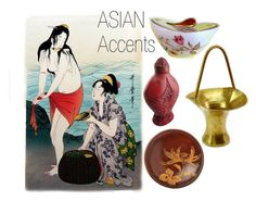 """""""Asian Accents"""" by seasidecollectibles ❤ liked on Polyvore featuring interior, interiors, interior design, home, home decor, interior decorating, Farberware and vintage"""