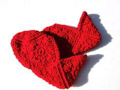 Crocheted Granny Square Slippers  Women's by crochetedbycharlene, $14.00