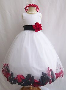 White with Black Combination Bridal Party Birthday Rose Petal Flower Girl Dress | eBay