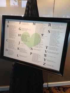 Table Number Directory for Wedding Reception - Alphabetized for ease of finding your name